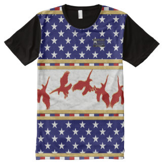 America Flag Colours Red Bald Eagle Stars T-Shirt