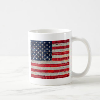 America flag on a brick wall coffee mug