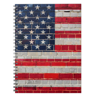 America flag on a brick wall spiral notebook