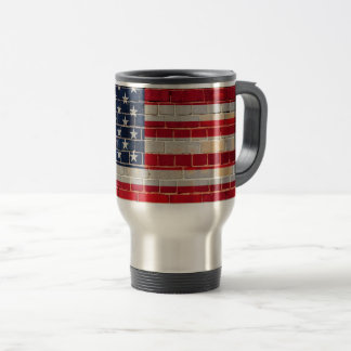 America flag on a brick wall travel mug