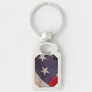 America flag Silver-Colored rectangle keychain