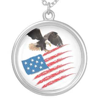 America Flag Silver Plated Necklace