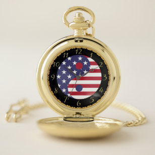 America flag Yin and Yang of the usa Pocket Watch