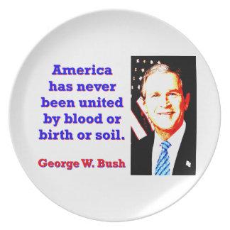 America Has Never - G W Bush Dinner Plate
