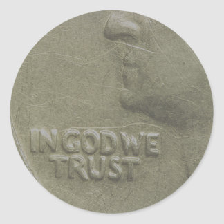 AMERICA - IN GOD WE TRUST - QUARTERS CLASSIC ROUND STICKER