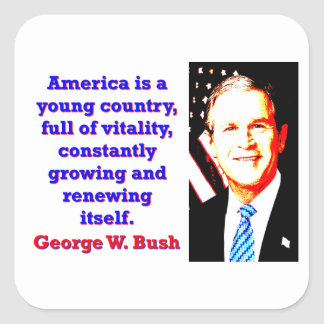 America Is A Young Country - G W Bush Square Sticker