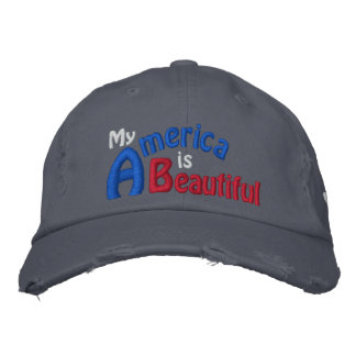 America is Beautiful, America's Song, Patriotic Embroidered Hat