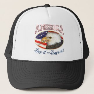 America Love It or Leave it (distressed) Trucker Hat