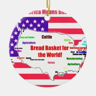 America Means Business Round Ceramic Ornament