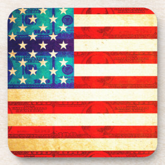 America money flag coaster