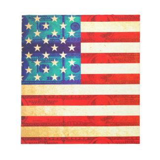 America money flag notepad
