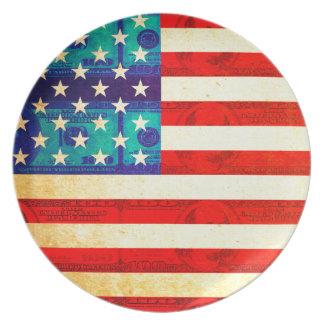America money flag plate
