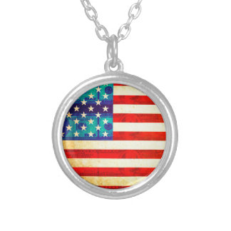 America money flag silver plated necklace