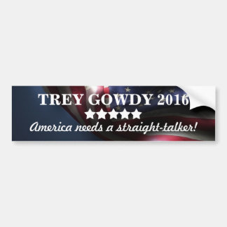 America needs a straight-talker ~Trey Gowdy 2016 Bumper Sticker