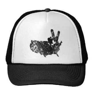 America Peace V Sign Dove, Grunge Trucker Hat