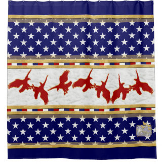 America Red Bald Eagle Stars blue Shower Curtain