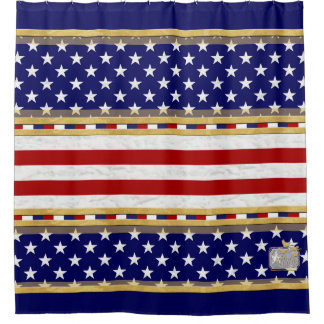 America Red Striped Stars Blue Shower Curtain