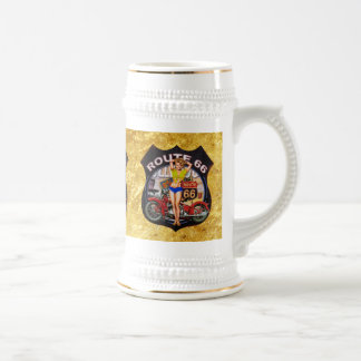 America route 66 motorcycle With a gold texture Beer Stein