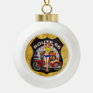 America route 66 motorcycle with a gold texture ceramic ball christmas ornament