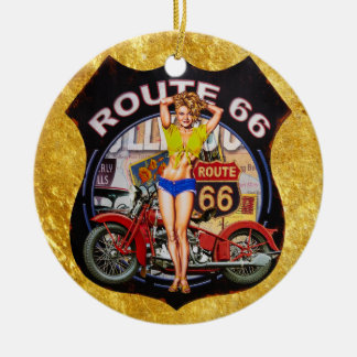 America route 66 motorcycle with a gold texture ceramic ornament