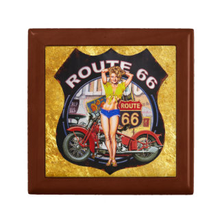 America route 66 motorcycle with a gold texture gift box