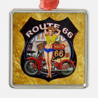 America route 66 motorcycle with a gold texture metal ornament