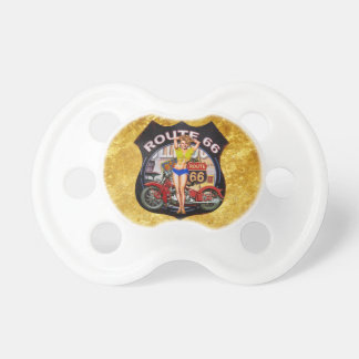 America route 66 motorcycle with a gold texture pacifier