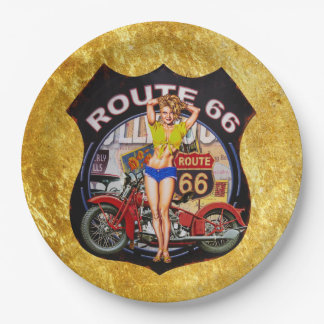 America route 66 motorcycle with a gold texture paper plate