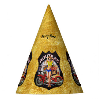 America route 66 motorcycle with a gold texture party hat