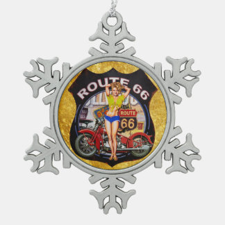 America route 66 motorcycle with a gold texture snowflake pewter christmas ornament