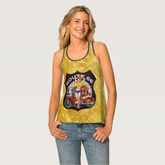 America route 66 motorcycle with a gold texture tank top