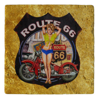 America route 66 motorcycle With a gold texture Trivet