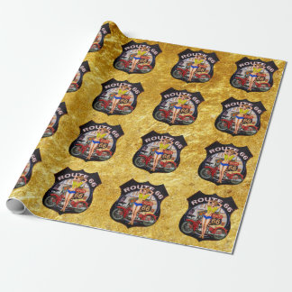 America route 66 motorcycle With a gold texture Wrapping Paper
