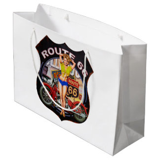America route 66 with a motorcycle large gift bag