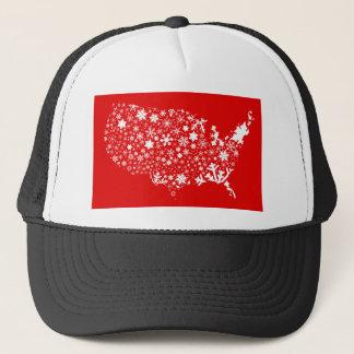 America Snowflake Map Trucker Hat