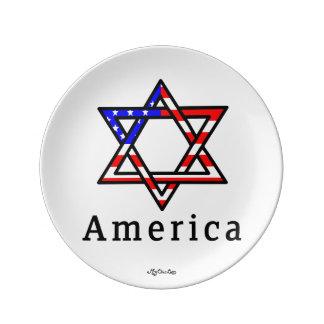 America Star of David Judaism! 8.5 PLATE! Porcelain Plates