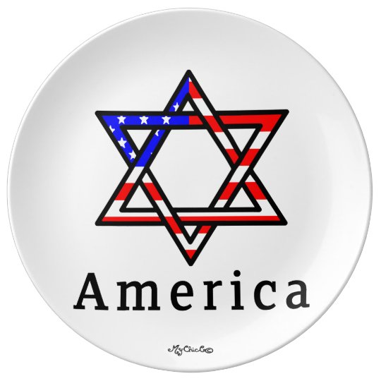 America Star of David Judaism! PLATE! Plate