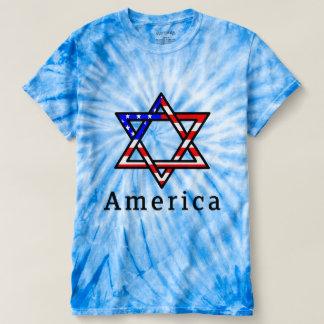America Star of David Judaism! TIEDYE BLUE TSHIRT