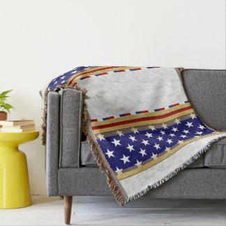 America Stars Blue White Throw Blanket