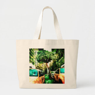 America Style of Taxi Design Vintage Large Tote Bag