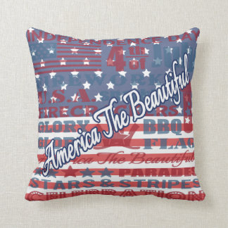 America the Beautiful Independence Day July 4th US Throw Pillow