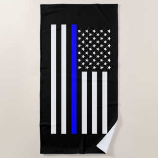 America Thin Blue Line Symbol Decor on a Beach Towel