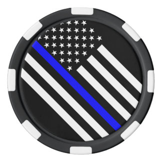 America Thin Blue Line Symbol Poker Chips