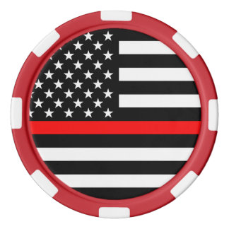 America Thin Red Line Symbol Poker Chips