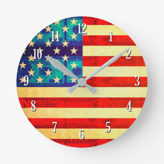 America time is money flag round clock
