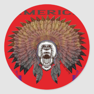 America to bear phase bears classic round sticker