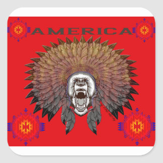 America to bear phase bears square sticker