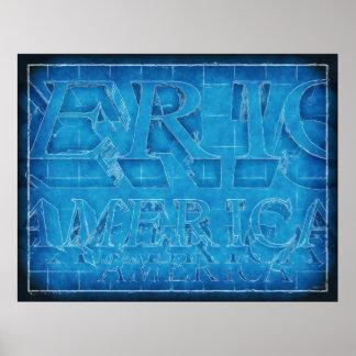 America Typographic Blueprint Poster