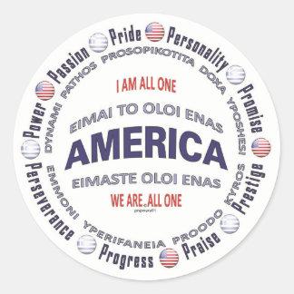 america united - greek round sticker