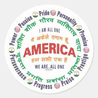 america united - hindi round sticker